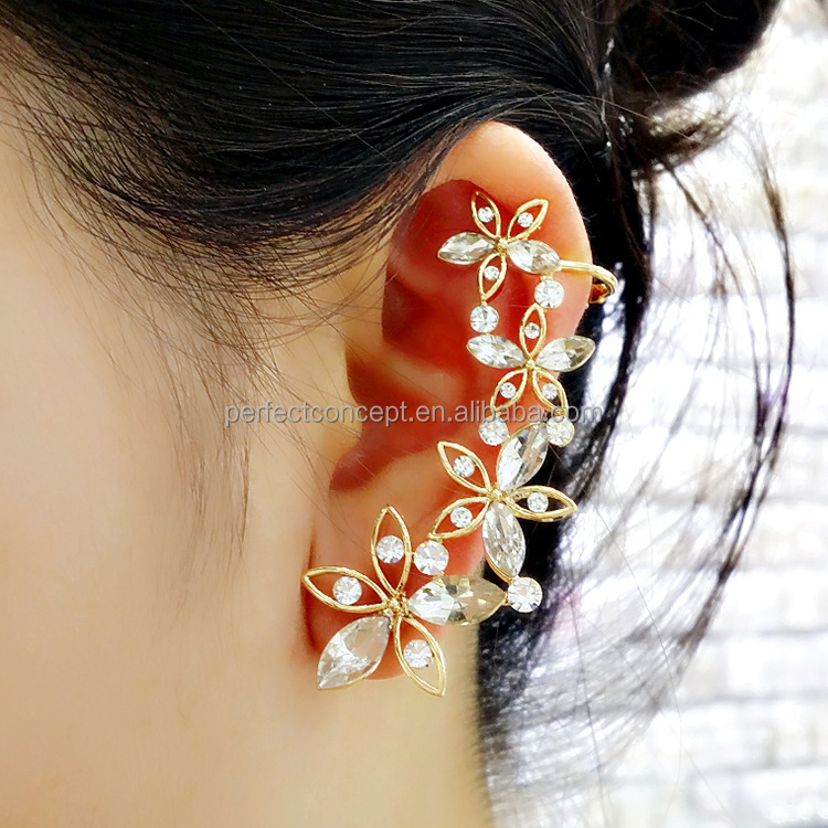 High Quality Crystal Stone Ear Cuff / Wholesales Ear Cuff / Flower Ear Cuff
