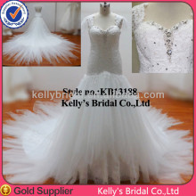 top design spaghetti strap heavy crystals beading appliqued layer tulle skirt wedding dresses