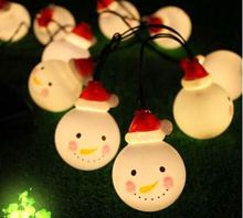 10 LED Christmas decoration battery box light string Foreign trade creative snowman solar led light string