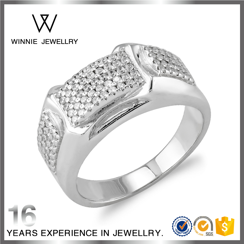 Gold Finger Ring Designs For Men Princess Cut White Gold Diamond Fine Jewelry RC0829662357