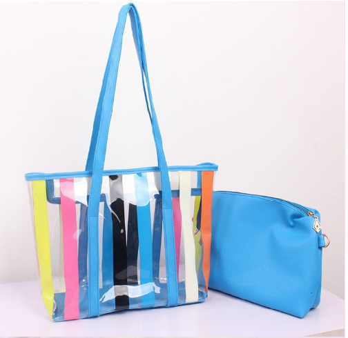 Rainbow color stripes design ladies transparent pvc hand carry bag
