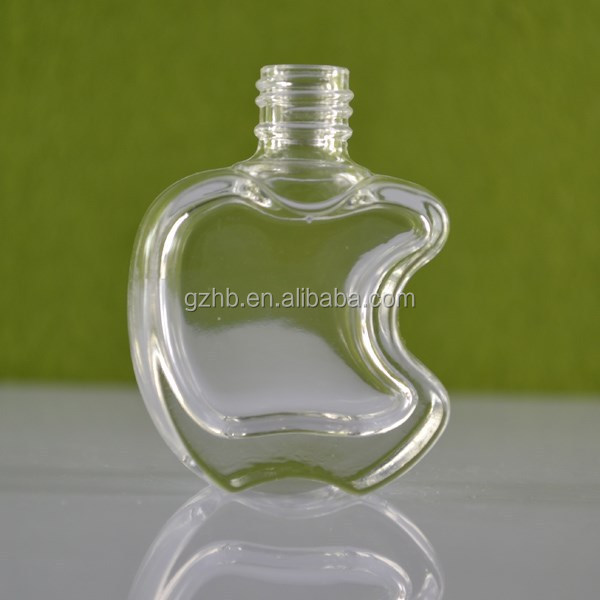 2015 hot sale apple shape glass nail polish bottle with black plastic cap wholesale