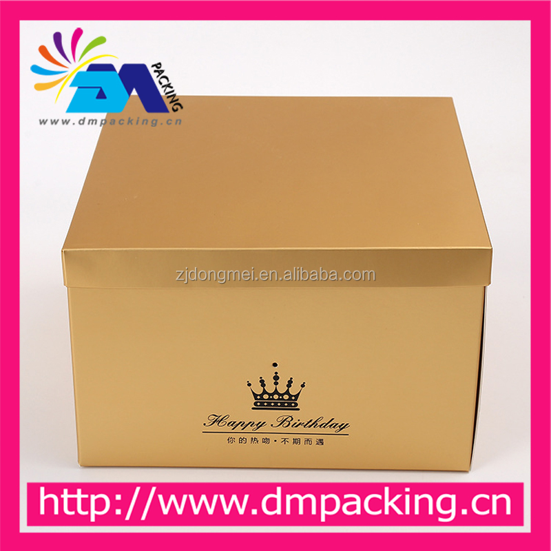 High quality gold card series white cardboard fold birthday cake box customised gift boxes