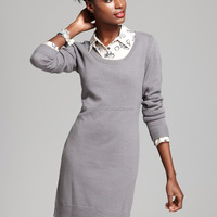 Ladies Fashionable Grey Cashmere Knitted Dress