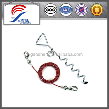 Red coated Tie out cable for dogs with 8x16 spiral stake
