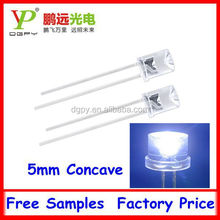 High Quality 5mm White Flat top with concave led diode for christmas tree decoration CE & RoHS