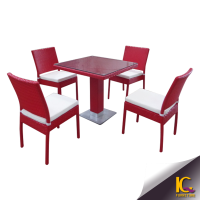 Unique restaurant pink color dining set table and chair outdoor dining furniture