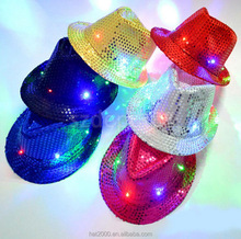Manufacture Flashing led fedora hat for party light led Jazz Hat