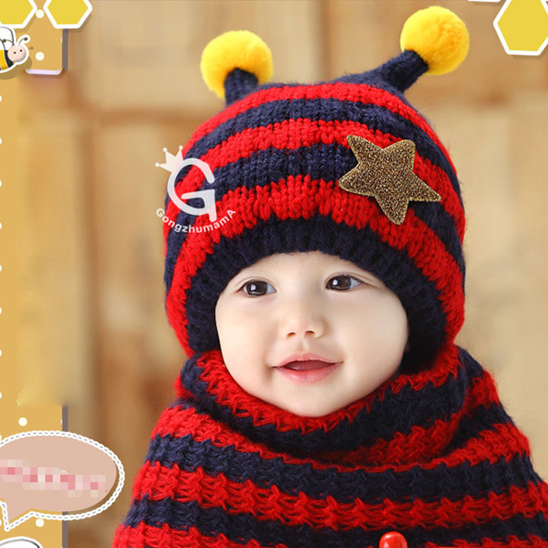 1-3 years old baby winter scarf and hat set