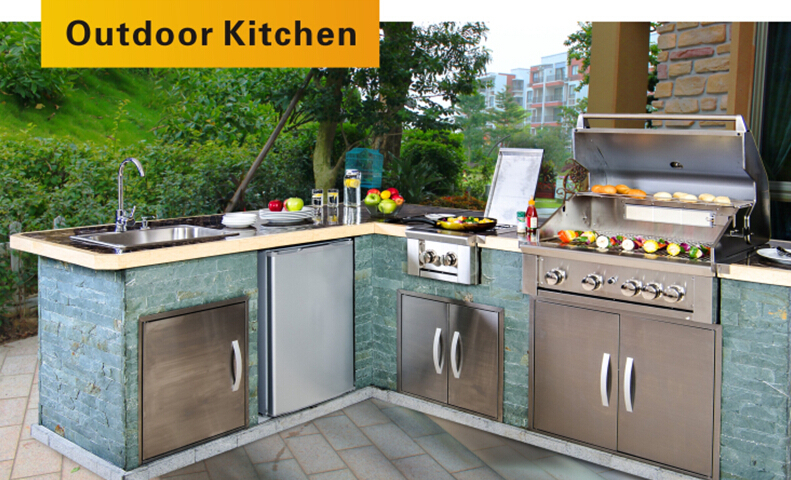 Stainless steel outdoor kitchen cabinets bbq with aga for Certified kitchen cabinets