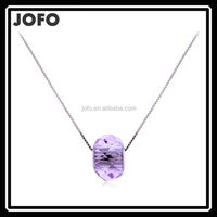 2015 Amethyst Silver Necklace Crystal Ball Shape Wedding Anniversary Necklace