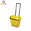 China Hot Sale Telescopic Handle 2Wheels Plastic Shopping Supermarket Basket Suppliers