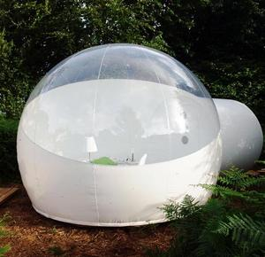 10 minutes set up 4m diameter flame retardant 1mm PVC clear transparent inflatable bubble sphere tent for sale