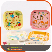 Square Shape Animal Pattern Melamine Dessert Snack Plates For Kids