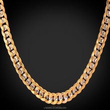 Hip hop cuban link chains metal wide mens chain jewelry gold plated unique two tone chain necklace