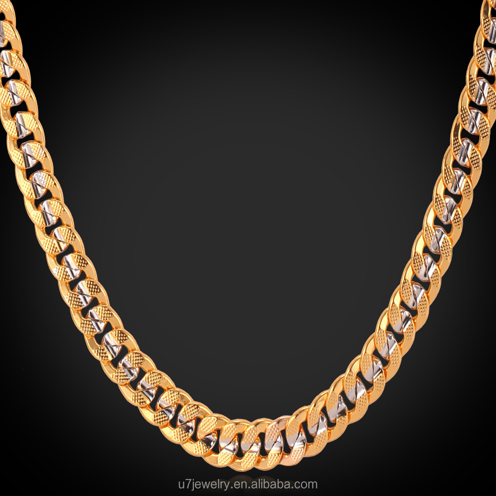 U7 18K gold & platinum two tone chain necklace for man , big link curb chain
