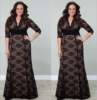 F20340A Latest fashion plus size dress for fat women lace dress ...