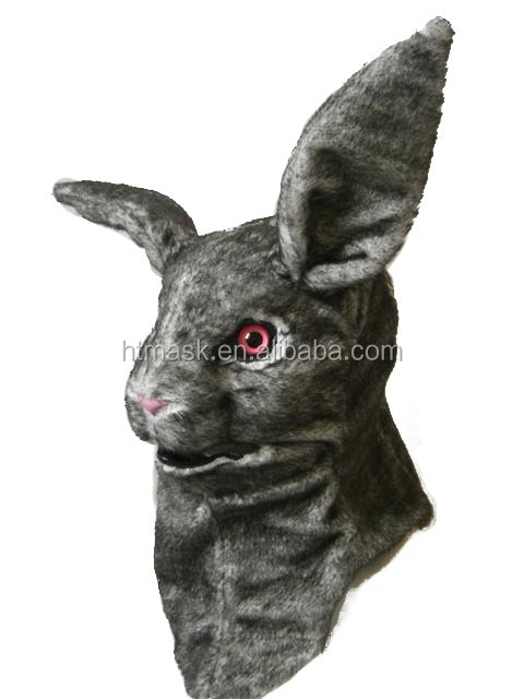 New Dark Gray Rabbits Halloween Costume Animal Latex Rubber Grey Rabbits Mask