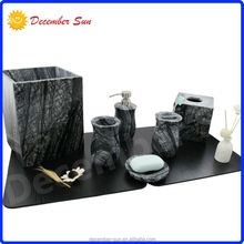 DS marble bath set,piece bath accessory set,black marble bathroom accessories