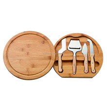 Wholesale Bamboo Cheese Board Set,Bamboo Round Cutting Board &Tools Set with Swivel Base, Natural