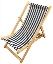 Stripe Wooden Foldable Deck Sling Chair