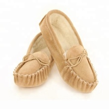 House Slippers Fall Winter Cow Suede Soft Sole Moccasins for Women