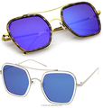 O-LOOK -Modern Slim Temple Browbar Color Mirrored Flat Lens Square Sunglasses
