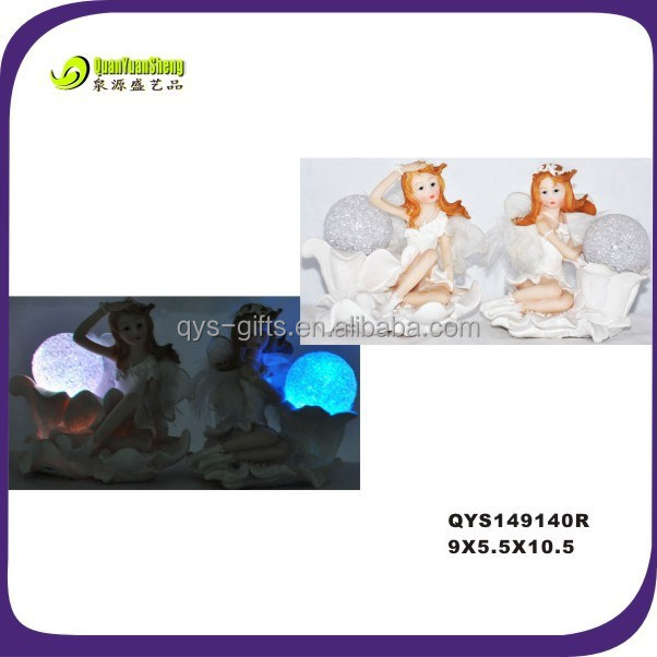 Handmade polyresin led beautiful decoration fairy