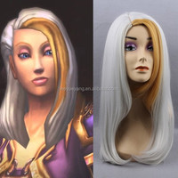 World of Warcraft Jaina Proudmoore long grey wavy wig with gloden side bangs