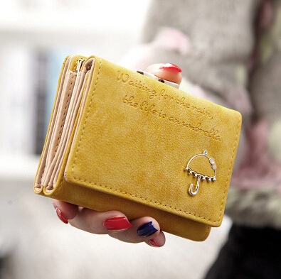 Simple Cute Candy Solid Top Leather Wallet Female Evening Clutch Purse Short Handbag Bag Carteras Mujer With Coin Pocket