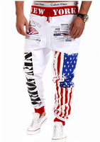 Wholesale Custom Digital printing men's leisure sports letters printed men's USA flag pant Joggers American trouse