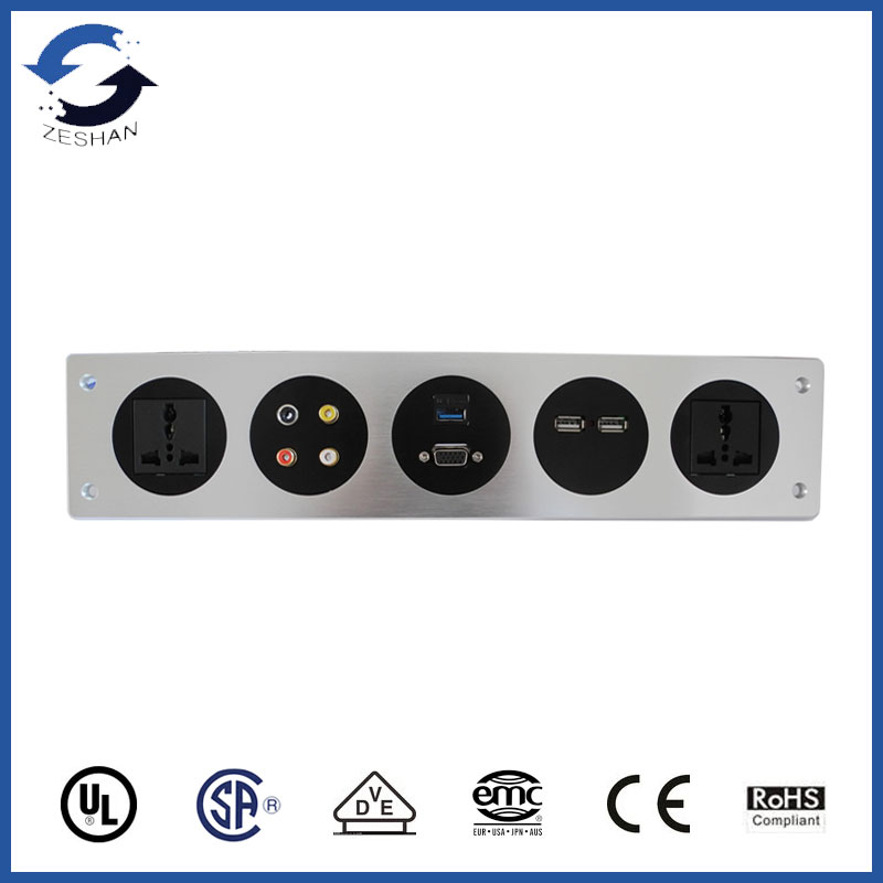 ZSW-5 Aluminum Panel Socket with Universal power and USB Charger