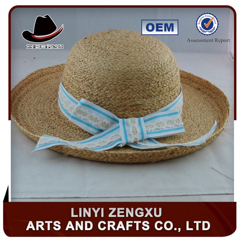 Professional trade team wholesale high quality plain sinamay lady straw hats