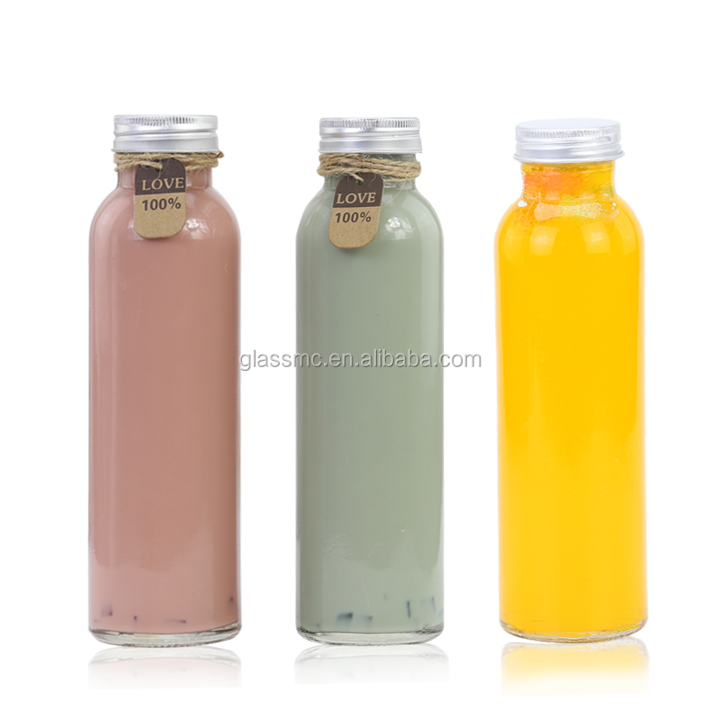 High quality clear 350ml round glass bottle for kombucha tea