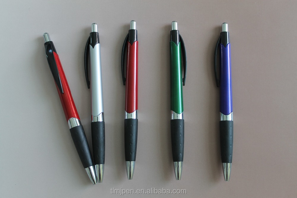 Cheap Custom Logo Advertisting Plastic Ball point pen with Rubber Grip