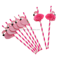 2017 New Design Assorted Colors Custom Printing Designs Party Flamingo Paper Straws