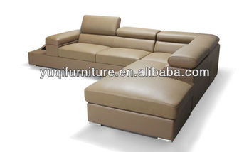 Modern Sofa, New Design Genuine Leather Corner L Shaped Sofa with Magazine rack, Storage ottoman sofa 9123-32
