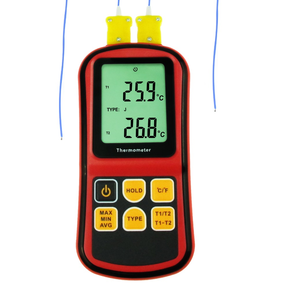 Digital K/<strong>J</strong>/T/E/R/S/N Type Thermocouple Thermometer Dual-channel Celsius and Fahrenheit -150~1767degC ATC Temperature Meter
