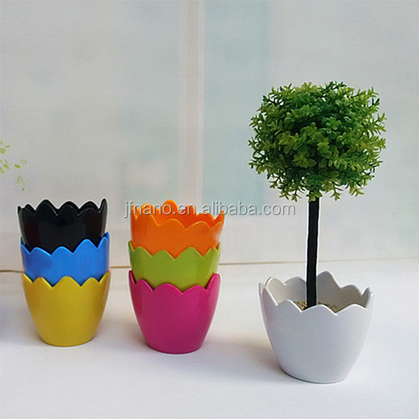 Wholesale colorful plastic flower pots, egg shape flower pots, small pots