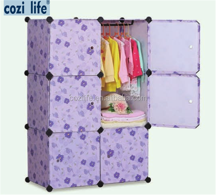 Pink Colour DIY Storage Cube Cabinet With Flower Printing wardrobe cabinet