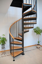 Size-Customized Stainless Steel Wood Stairway Modern Style Spiral Stairway Design