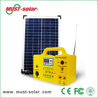 20W portable home solar power lighting system for lighting and mobile charging