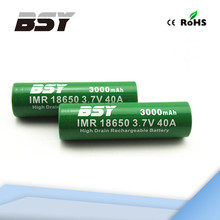 bsy 3000mah imr 18650 3000mah 3.7v 40a high drain rechargeable battery for tank 10ml vape battery