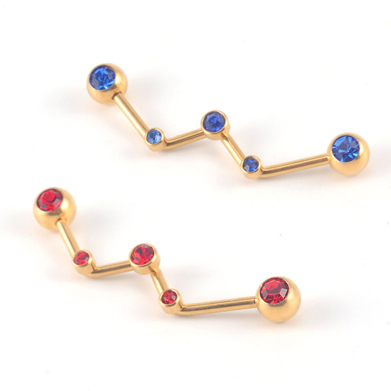 New style IP plated gold W shaped stainless steel jeweled ear stud for women