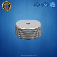 cnc anodized aluminum metal thread tube end cap with knurling