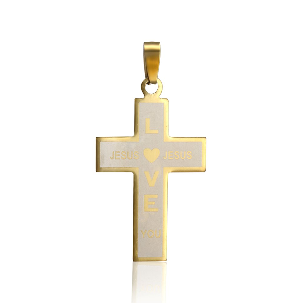 Hot sale Mens Stainless steel yellow cross necklace pendant with love jesus words