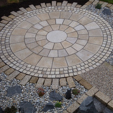 Garden landscaping compass pattern granite paving stone