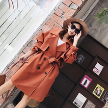 The Spring And Autumn Wind Port Of The Double Breasted Knee Length Coat Lapel Thin Waist Loose Wind Coat