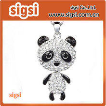Neoglory Jewelry Platinum Plated Long Panda Pendant Necklace Fully Studded with Rhinestones