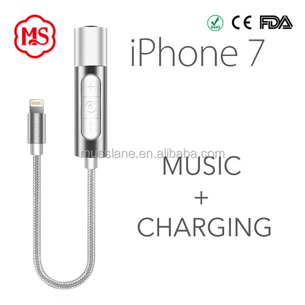 AUX 3.5mm Jack Aduio Cable Earphone Adapter for iphone 7 plus